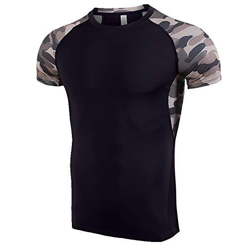 NOBRAND Sport Schnelltrocknendes T-Shirt Herren Training Kurzarm Fitness Anzug Sommer Gr. M, Schwarz