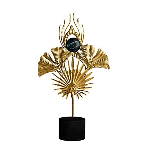 Ocobetom Adornos de metal, plumas decorativas, figuras decorativas doradas, de metal, moderna, pequeña figura decorativa para mesa, para salón, exterior, jardín, escultura, accesorios, idea de regalo