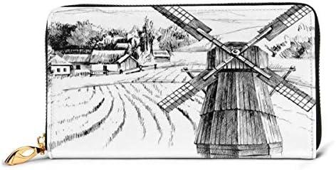 Tarjetero Largo de Cuero para Mujer Monedero Hebilla de Cremallera Elegante Cartera de Mano, Paisaje Rural Dibujado a Mano Casas Rurales de Pueblo pequeño Bosque y Molino Bosquejo román