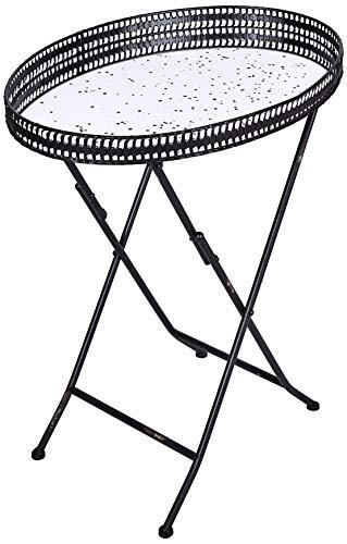 Better & Best 1401384 Table avec Plateau Miroir Vieilli et Pieds Pliables Noir