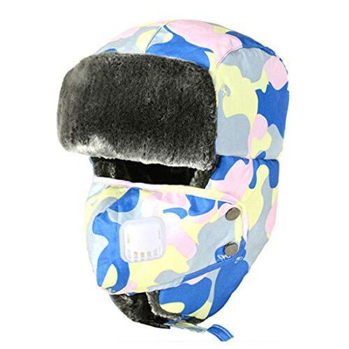 Yue668 - Gorro de esquí de Invierno, Gorro de algodón para Hombre y Mujer, Unisex, poliéster, Azul Celeste, Talla única