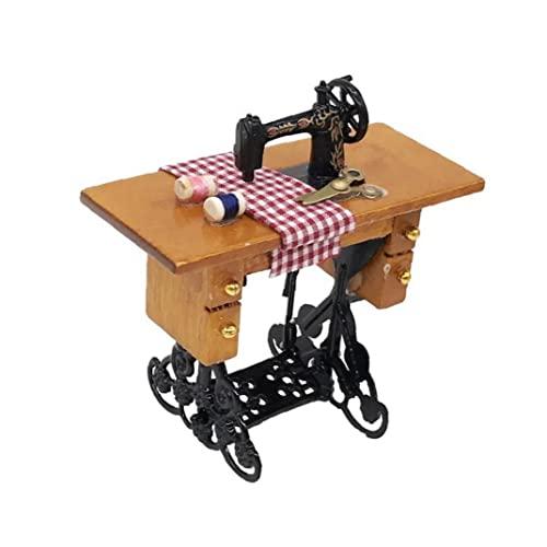 Mini maszyna do szycia domek dla lalek miniaturowa waga maszyna do szycia w skali 1:12 do dekoracji domku dla lalek brązowe użyteczność