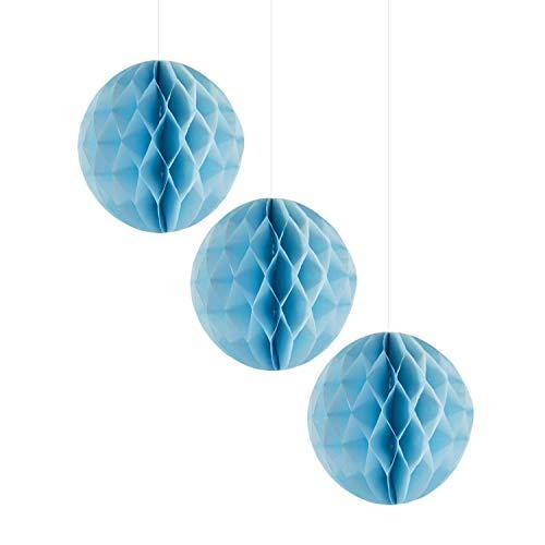 Oblique Unique® Wabenball Honeycomb Ball Set 3 STK. Papierbälle 20 cm Hängedeko für Kinder Geburtstag Hochzeit Baby Shower Party Feier Deko Gartenparty Dekoration - Farbe wählbar (Hellblau)