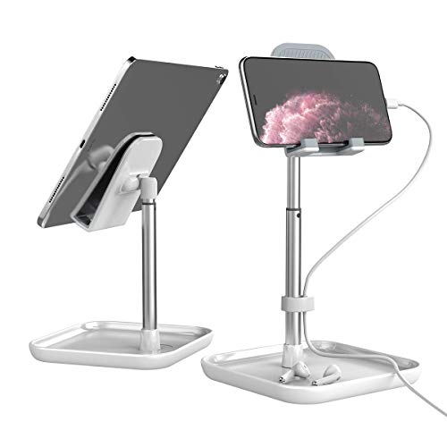 Licheers タブレットスタンド 角度と高さ調整可能 iPadスタンド 卓上 携帯 スタンド Switch, iPhone, Samsung, Sony, LG, Kindleなど(4-11インチ)に対応 日本語説明書付き - 白