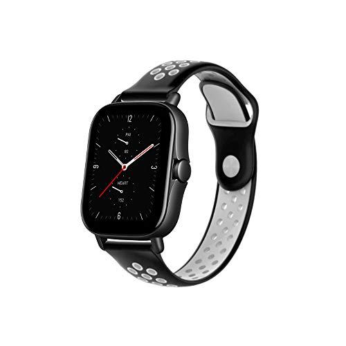 PaceBid Correas Compatible con Amazfit GTS 2e/GTS 2/GTS/GTS 2 Mini, 20mm Impermeable Ajustable Silicona Reloj de Recambio Brazalete Correas,Suave, Transpirable, Resistente Banda- (Black-White)