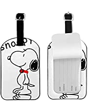 Snoo-py Etiquetas de equipaje de cuero para hombres y mujeres, etiquetas de maleta, etiquetas de bolsa de equipaje de identificación, accesorios de viaje, etiquetas de microfibra de piel sintética