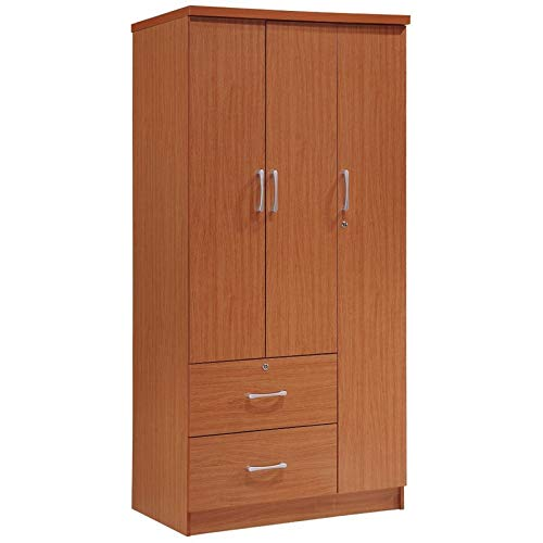 Pemberly Row 3 Door Wardrobe Armoire Closet with 2 Drawers in Cherry