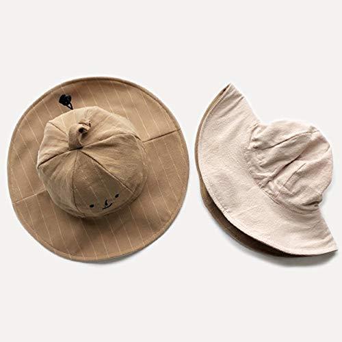 Oupai Couverture de Visage Anti-buée Sun-Hat for bébé Tout-Petits Filles, 50+ FPU, Bretelles réglables Enfants Coton Chapeau réversible Chapeau de Soleil Pliable Plage Cap Aged 1-6