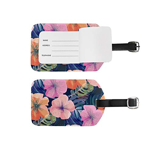 Luggage Tags Address Name Holder,2Pcs Portable Identifier Label Set Checked Card Bag Decoration Travel Gear Gifts for Suitcases Bags Beautiful Floral Pattern