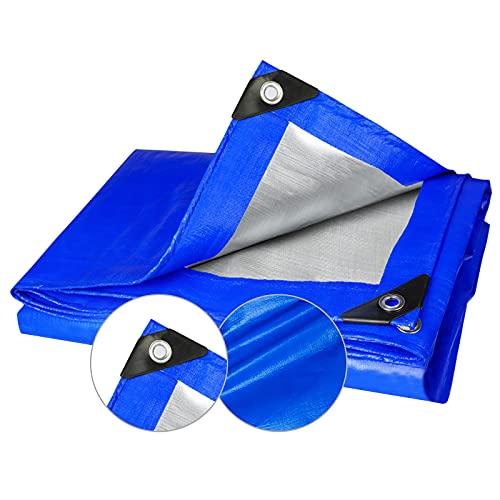 Toldos Plastico Azul y Plateado, Lona Impermeable 160g / m², Lona De Exterior Con Protección De Esquina Negra, Apto Para Pérgola/Galpón De Cría/Camping (2x15m/6.6x49.2ft)