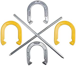 Crown Sporting Goods Professional Steel Horseshoe Game Set with Carrying Case