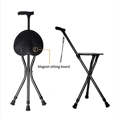 Stevige wandelstok met opklapbaar zitje voor ouderen, zwangere vrouwen en gehandicapten, verstelbare wandelstok met zitje voor zware dikke aluminium kruk (zwart met LED-verlichting)