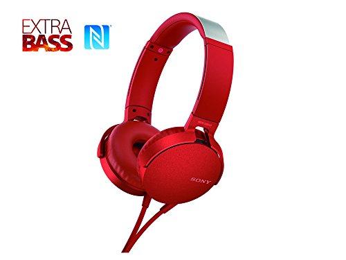 Sony MDR-XB550AP – Audífonos de diadema EXTRA BASS con micrófono para llamadas con manos libres , Rojo