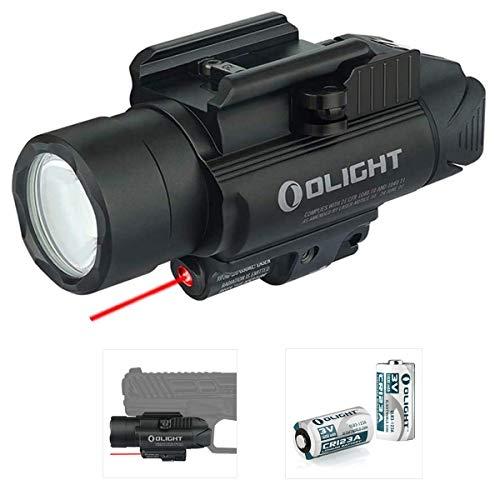 Olight Baldr RL - Linterna de bolsillo con luz roja para actividades tácticas de policía militar, con 2 pilas CR123A y caja de batería Tidusky (negro)