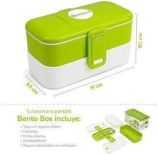 Wellzen Bento Box Lunch Lonchera dos compartimentos amplios 19.2 x 11.3 x 10.8 cm, color verde con blanco, incluye cubiert...