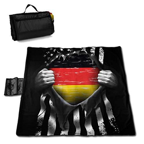 Singledog Picknickdecke Flagge von Deutschland Picknickdecke für Outdoor Handy Mat Tote 145X150CM auseinander ziehen