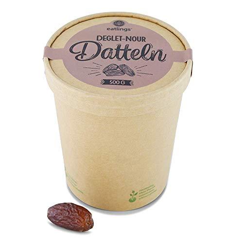 eatlings BIO Deglet-Nour Datteln (500g) - Premium Rohkost Qualität aus Tunesien - Praktische Dattelbox aus Papier