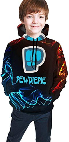 Rogerds Youth Teen Pewdiepie Logo Logo Winter Hoodie Sweatershirt Long Sleeve Pullover Hoodies for Teens Boys Girls Clothes