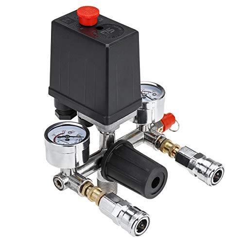 NICOLIE Manómetros del Regulador del Colector De La Válvula De Control del Interruptor De Presión del Compresor De Aire De 220 V