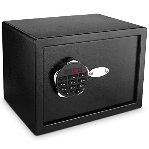 Homdox Digital Electronic Safe Security Box, Steel Deposit Safe for Home & Office, Gun Cabinet Safe with Keypad for Jewellery Money Valuables, Wall-Anchoring Design, 0.75 Cubic Feet Capacity