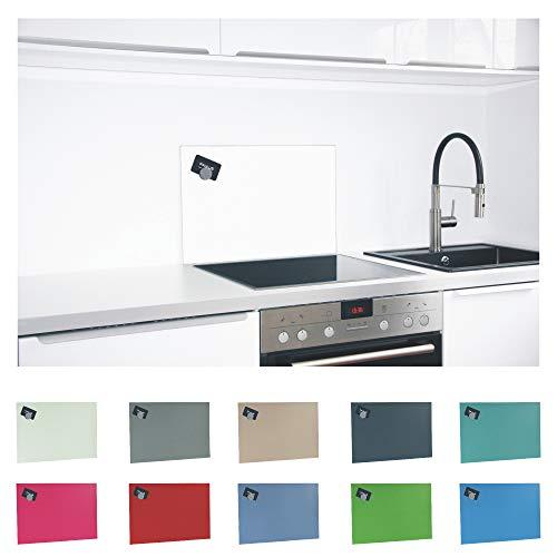 Paulus Spritzschutz Küche Herd Wand Küchenrückwand magnetisch 60x40cm Weiss, RAL 9003 signalweiss
