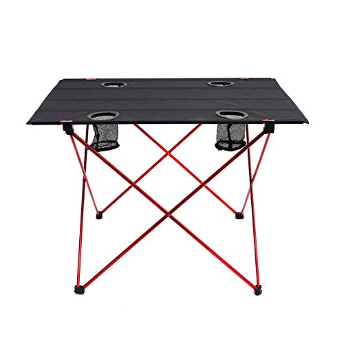 Outry Lightweight Folding Table with Cup Holders, Portable Camp Table (L - Unfolded: 29.5' x 22' x 21')