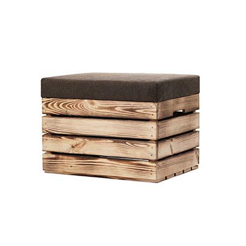 GrandBox Weinkisten Hocker Holz 37x40x50 mit Polster, Sitz-Truhe mit Stauraum, Polster-Sitz-Bank, Truhenbank Retro Shabby Chick Vintage - geflammt