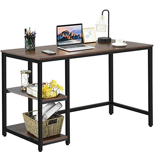 COSTWAY Schreibtisch Industrie Design, Computertisch mit Regal, Bürotisch PC-Tisch Arbeitstisch fürs Büro, Arbeitszimmer, Wohnzimmer 120x60x75cm