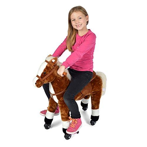 Pink Papaya Reitpferd auf Rollen, XXL 70cm Spielpferd Milo, Schaukelpferd zur echten Fortbewegung bis 70kg belastbar, Plüsch-Pferd mit 2 Sounds Toys