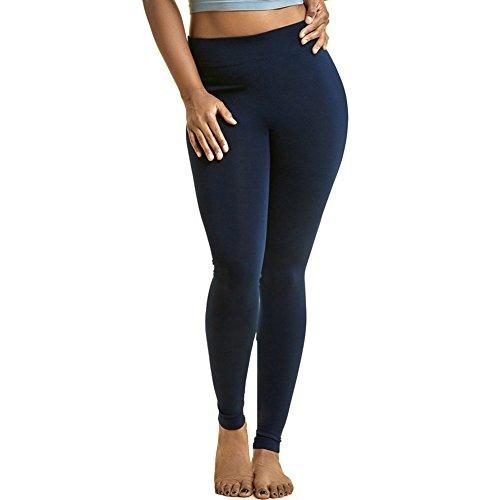 Sofra Women's Plus Sized Full Length Leggings-Navy Blue