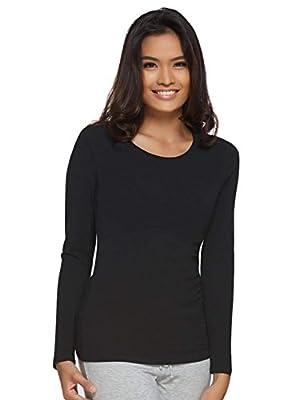 Felina   Long Sleeve Crew Neck Shirt   Cotton & Modal (Black, Medium) from Felina