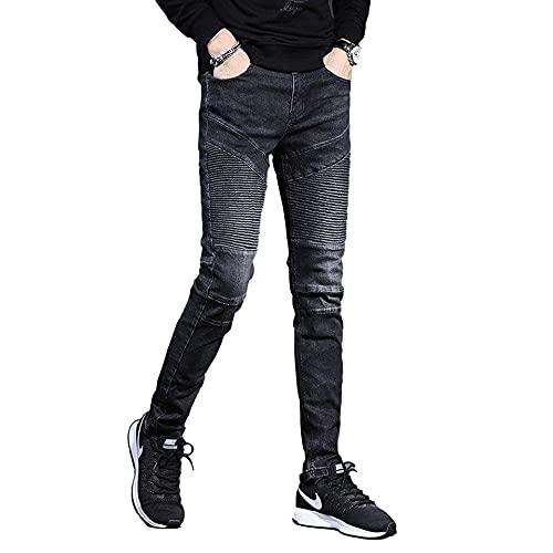 Pantalones vaqueros de motocicleta slim fit para hombre, Negro, 31W