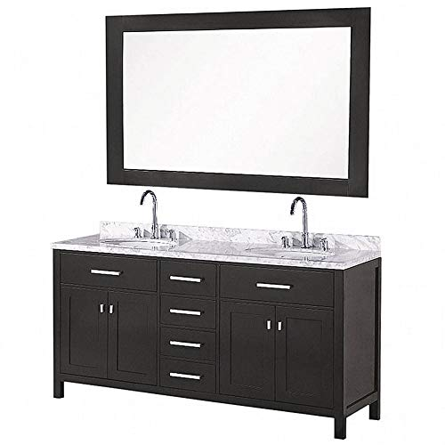 LUCA Kitchen & Bath LC61CWW Geneva 61' Double Vanity Set in White with Carrara Marble Top, Sink, and Mirror