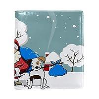 Carrozza ブックカバー 文庫 新書 雪柄 クリスマス サンタクロース 本カバー 16x22cm おしゃれ かわいい PUレザー 革