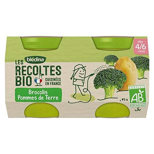 Blédina - Les Récoltes Bio - 2 petits pots pour les repas de bébé - Brocolis Pommes de Terre - dès 4/6 mois - 260 g