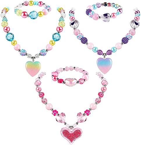 3 juegos de collar y pulsera de corazón con colgante de corazón brillante, regalo de juguete para fiestas de juegos, vestido de fantasía grueso, joyería de amistad para niñas pequeñas