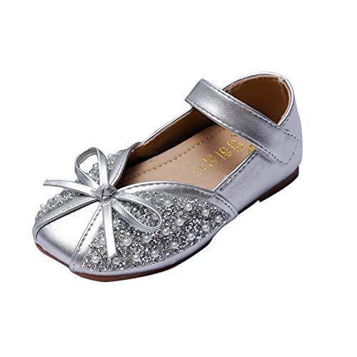 Zapatos de bebé para niña, con lazo de cristal, sandalias de princesa, zapatos de piel suave, zapatos de aprendizaje, niños pequeños, niños de 1 a 12 años de edad, plata, 21