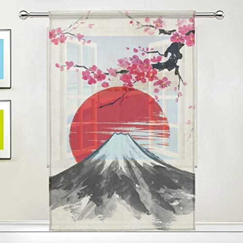Alarge Fenstervorhang mit japanischer Sakura-Blume, Voile-Vorhang für Küche, Wohnzimmer, Schlafzimmer, Tür, Fenster, 1 Stück, Textil, multi, 55