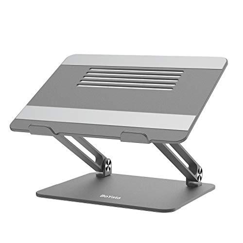 BoYata Laptopständer, Multi-Angle Laptop Ständer mit Heat-Vent, Verstellbarer Notebook Ständer Kompatibel für Laptops (11-17 Zoll) einschließlich MacBook Pro/Air, Lenovo, Samsung, HP(Grau)