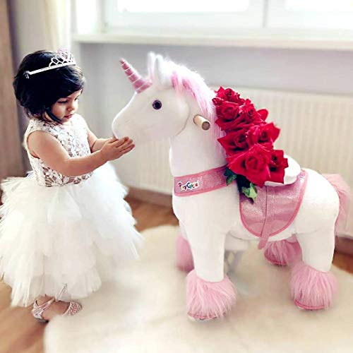 PonyCycle Official Classic U Series Ride on Horse Toy Plush Walking Animal Pink Unicorn Small Size for Age 3-5 U302