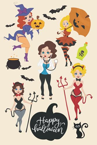 HAPPY HALLOWEEN Lined Notebook Journal Tracker Pin up Girls. 100 pages 6 x 9 inches: Retro, Kitsch, Vintage, Glamour, Pop Art, Comic Girl.