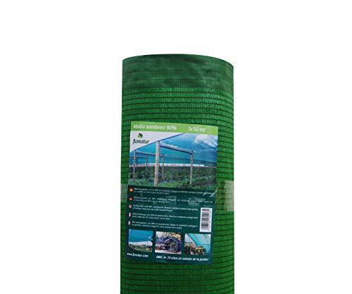 flonatur Mallas ocultación jardín Verde, 1x50m, Malla sombreo al 90%, Malla jardín Verde y marrón, Varias Medidas