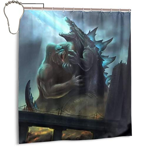 Custom Waterproof Shower Curtains for Home Camper, King Kong Vs Godzilla King of The Monsters Fanart Polyester Fabric Bathroom Drapes Set with 12 Pcs Stainless Steel Hooks, 66 X 72 Inch