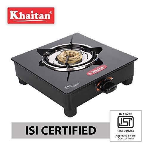 khaitan Open Single Burner BP-JIO Black Toughened Glass Top, Manual Ignition LP Gas Stove (ISI Approved)