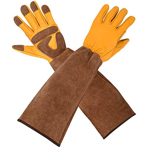 Beinhome Gartenhandschuhe Damen Herren, Rindsleder Gartenhandschuhe mit langem Unterarmschutz (XL)