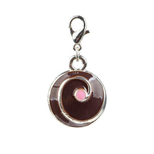 Encantador negro y Colour rosa pastel/con pinza clip cake On encanto de los para abalorios pulseras de By VAGA