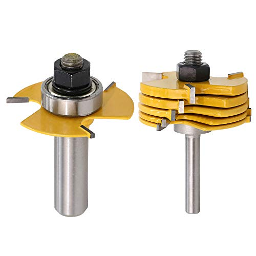 Yakamoz 1/2 Inch Shank Adjustable 3 Wing Slot Cutter Router Bit Set with 6-Picecs Slotting Cutters   1/2 Inch Cutting Depth & 6 Different Cutting Widths