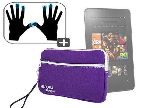 """DURAGADGET Housse étui résistant en néoprène Violet + Gants capacitifs conducteurs Taille M (Moyen) pour Nouvelle Tablette Kindle Fire 7"""" et Fire HD d"""