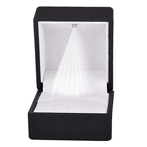 Ybzx Ringe Display Box Aufbewahrung Soft Velvet Tray Kofferhalter Stand Display Aufbewahrungsbox Show Schmuck Organizer LED Licht Ring Box Schwarz