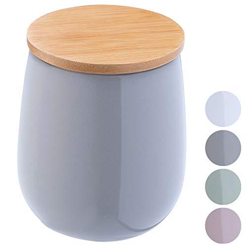 KADAX Kosmetikdose, Aufbewahrungsdose aus Keramik, Wattedose mit Deckel aus Bambus, Wattepadhalter, Vorratsdose, Wattebehälter, Universaldose für Badezimmer, Wattepads, rund (grau)